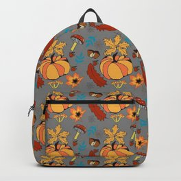 Autumn pattern with pumpkin and vegetal life Backpack