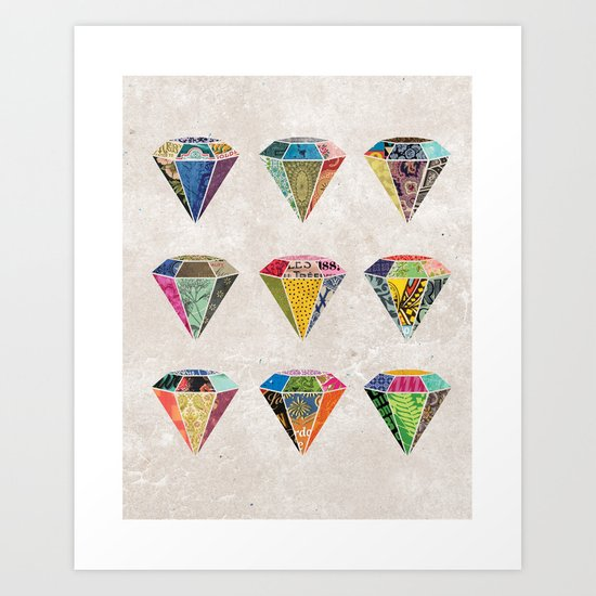 Diamonds Collage Art Print