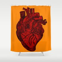 anatomical heart Shower Curtains featuring Anatomical Love by Orange Blood Gallery