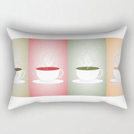 Tea Cups: Mate, Rooibos, Oolong, Matcha Rectangular Pillow
