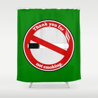 smoking Shower Curtains featuring No Smoking by mailboxdisco