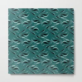 Black swirls on turquoise background. Metal Print