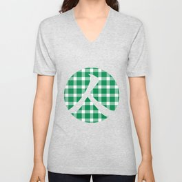 Plaid Emerald Green Unisex V-Neck