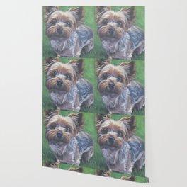 A realistic Yorkshire Terrier Portrait by L.A.Shepard fine art painting Wallpaper