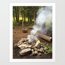 Smokey Campfire Art Print