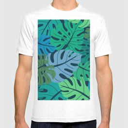 Beautiful seamless pattern with ropical jungle palm, monstera leaves. Colorful nature floral endless background T-shirt