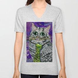 Cat & Fish Tie Unisex V-Neck