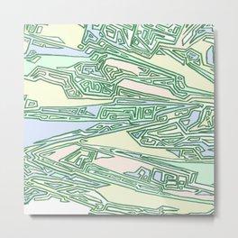 Green Crazy Hand Drawn Pattern Metal Print