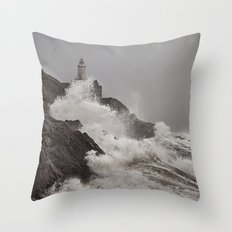 Wild Welsh Waves Throw Pillow