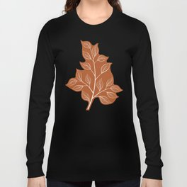 Delicate White Leaves and Branch on a Rust Orange Background Long Sleeve T-shirt
