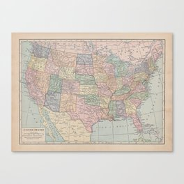 Vintage Map of the United States Canvas Print