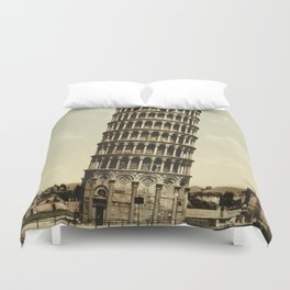 Vintage Leaning Tower of Pisa Photograph (1900) Duvet Cover