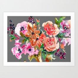 Coral Rose Bouquet Art Print