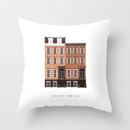 New York, NY Brownstone Throw Pillow
