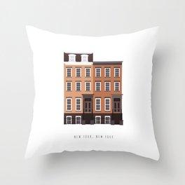 New York City, NYC Brownstone Throw Pillow