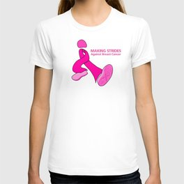 Cancer walk ribbon with shoe tread T-shirt