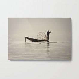 Fisherman at Inle Lake Metal Print