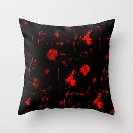 Red Paint / Blood splatter on black Throw Pillow