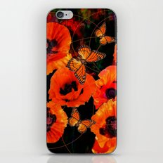 ORANGE MONARCH BUTTERFLIES POPPY GARDEN ART iPhone & iPod Skin
