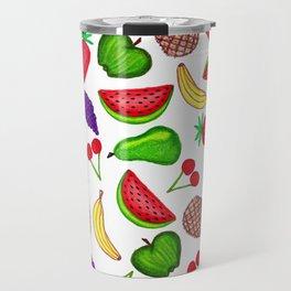 Tutti Fruity Hand Drawn Summer Mixed Fruit Travel Mug