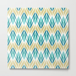 Mid Century Modern Abstract Floral Pattern in Turquoise Teal Aqua and Marigold Metal Print