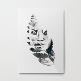 Portrait of woman(leaves) Metal Print