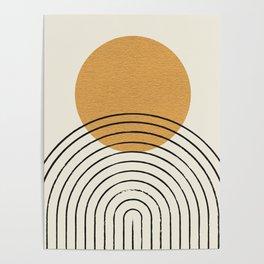 Gold Sun rainbow mid-century full Poster