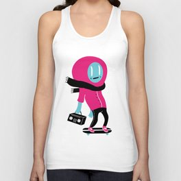 Alien on skateboard Unisex Tank Top