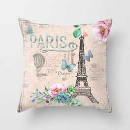 Paris - my love - France Nostalgy - pink French Vintage Throw Pillow
