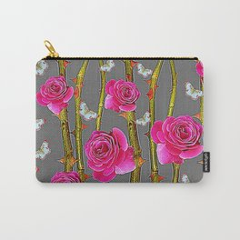 WHITE BUTTERFLIES & PINK ROSE THORN CANES  GREY ART Carry-All Pouch