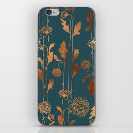 Art Deco Copper Flowers  iPhone Skin