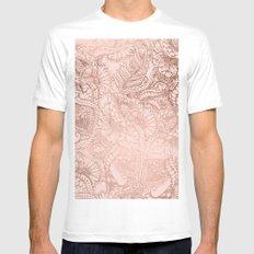 Modern rose gold floral illustration on blush pink Mens Fitted Tee MEDIUM White