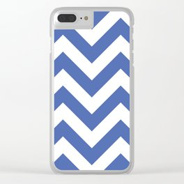 Large chevron pattern / royal blue Clear iPhone Case