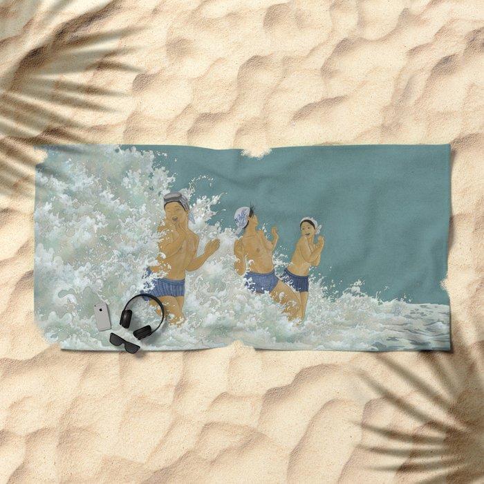 Three Ama Enveloped In A Crashing Wave Beach Towel