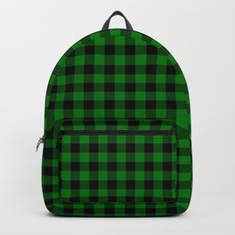 Christmas Green and Black Buffalo Check Plaid Backpack