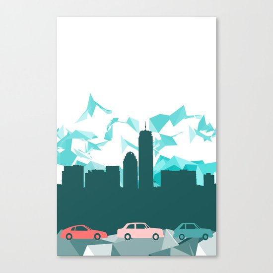 City, mountain and cars Canvas Print