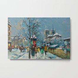 Notre-Dame et les Quais, Winter, Paris by Antoine Blanchard Metal Print