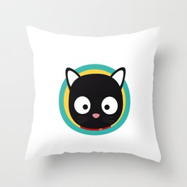 Black Cat with Green Circle Throw Pillow