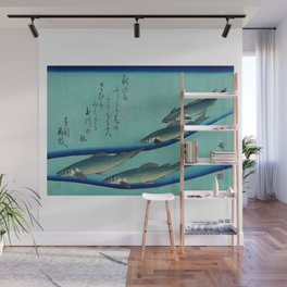 "Utagawa Hiroshige (Ando) ""School of Five Seat Trout 1835"" Wall Mural"
