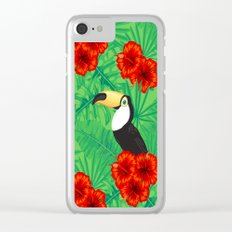 Tropical pattern with toucan and  tropical leaves Clear iPhone Case