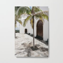 Palm tree growing in the street. La Palma, Canary Island. Metal Print