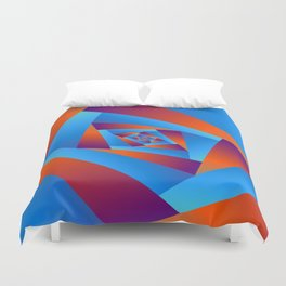 Orange and Blue Spiral Duvet Cover