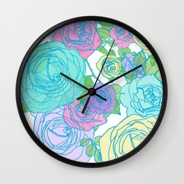 Pop Roses in Bright Preppy Colors Wall Clock