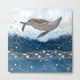 Flying Seal - Rising Waters Surreal Climate Change  Metal Print