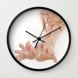 3524-KLM Bare Feet Up Toes Spread Foot Woman on White Wall Clock