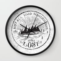 not all who wander Wall Clocks featuring NOT ALL WHO WANDER ... by Matthew Taylor Wilson