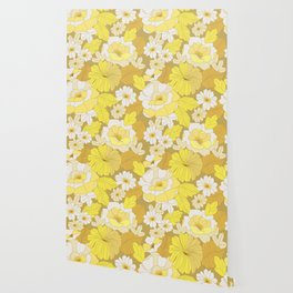 Yellow, Ivory & Brown Retro Flowers Wallpaper