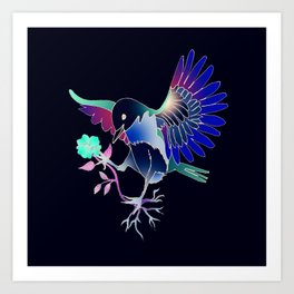 Flying with roses inverse Art Print