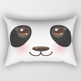 Kawaii funny panda white muzzle with pink cheeks and big black eyes  on white background Rectangular Pillow