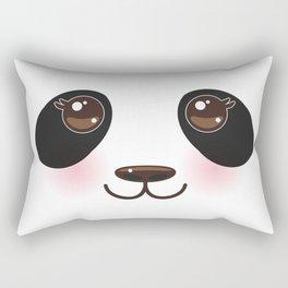 Kawaii funny panda white muzzle with pink cheeks and big black eyes  on white background Rectangular Pillow